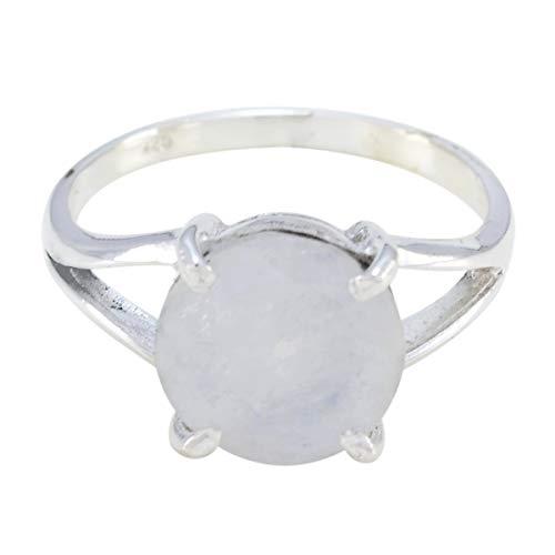joyas plata gemas genuinas forma redonda una piedra anillo de piedra de luna arcoíris facetado - anillo de piedra de luna arcoíris blanco de plata sólida - cáncer de nacimiento de julio