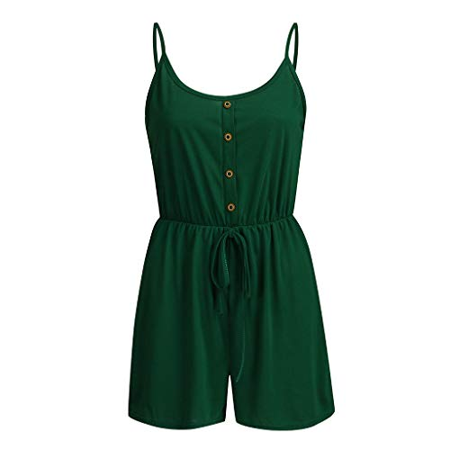 Women Loose Shorts Playsuit Sleeveless Rompers Elastic Waist Jumpsuit Backless Tanks Tops Shorts Outfit Sets Pajamas Sets (Green, L)