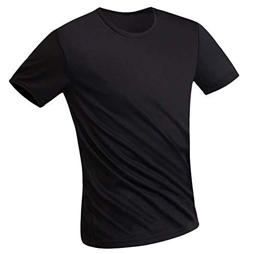 Huaheng Herren Einfarbig Kurzärmelig Liquid Wasserfest Super Hydrophobes Rundhals T-Shirt für den Sommer - Schwarz, 4XL