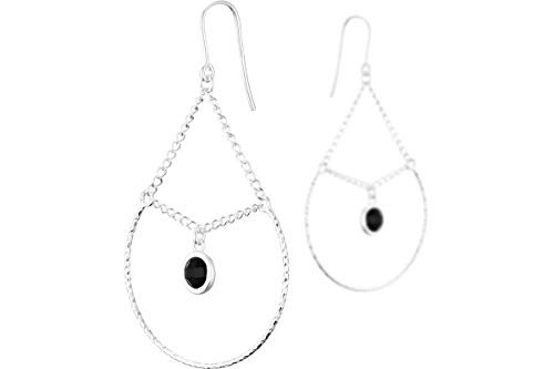 Clio Blue Taj Mahal Sleeper Earrings 925 Silver 2.82 g Black