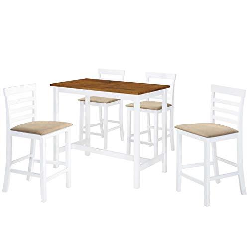 Festnight Bartisch und Hocker-Set 5-TLG.   Stehtisch mit Stühlen   Küchenbartisch mit 4 Barhocker   Bistrotisch mit Stühlen Set   Tresentisch mit Barhocker   Braun und Weiß MDF und Massivholz