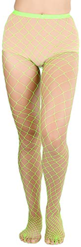 ToBeInStyle Women's Chic and Fun Industrial Diamond Net Spandex Pantyhose- Neon Green