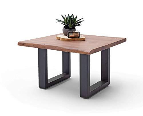 Möbel-Store24 Couchtisch Wohnzimmertisch Baumkante Akazie-massiv U-Form quadratisch walnuss lackiert 75 cm Cartagen M58025UAW