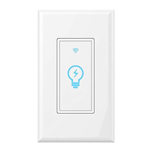 Smart Switch Alexa, WiFi Light Switch In-Wall Wireless Compatible With Amazon Alexa and Google Home, Timing Function, Suit for 1/2/3/4 Gang Switch Box, Neutral Wire Required Micmi, 1pack