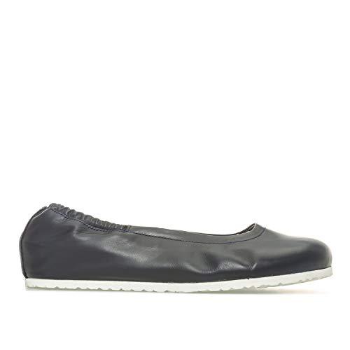 Womens Birkenstock Celina Leather Ballerina Shoes – Regular Width in navy.