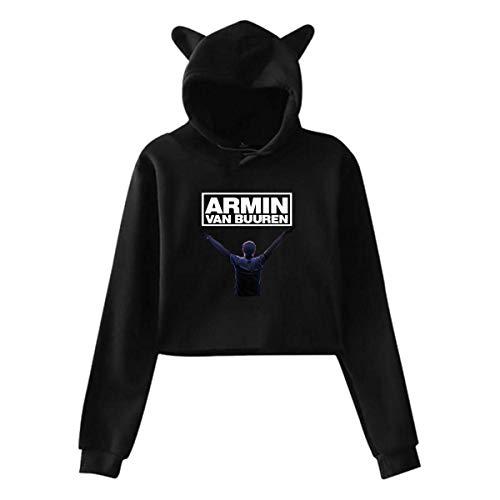 Armin Van Buuren - Sudadera de manga larga con capucha para mujer, diseño de orejas de gato