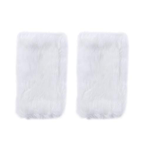 BESPORTBLE 1 para Fingerlose Nette Nachahmung Kaninchenfell Handschuhe Glatte Weiche Plüsch Handschuhe Warme Keeping Handschuhe für Frauen Mädchen (Mittellange Muster, Weiß)