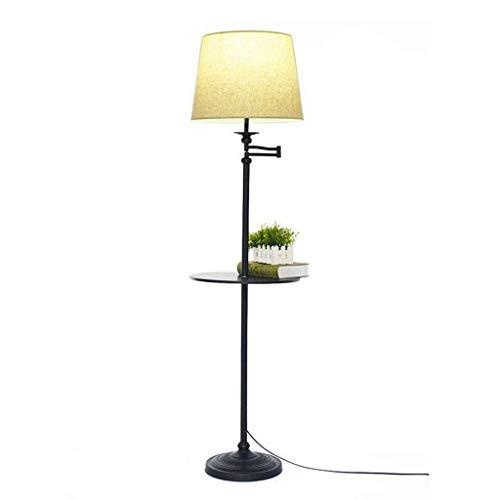 QTDH Bedside staande lamp met salontafel, moderne sofa, oogverzorging, leeslamp voor vloer, licht-zaklamp voor slaapkamer of kantoor