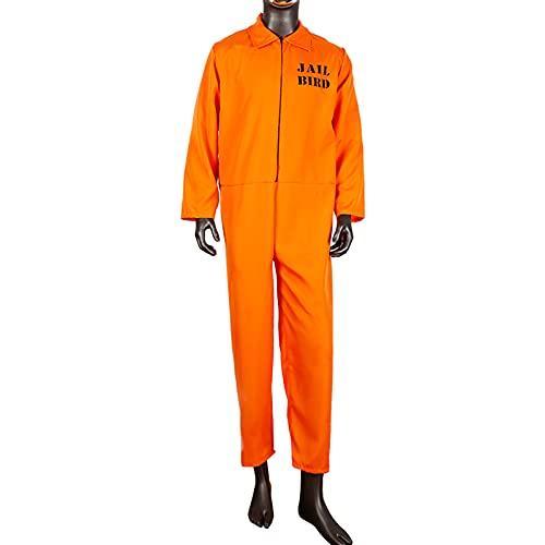JQMAO Disfraces de Prisionero de Recluso Conjunto para Juego de Roles de Halloween (Orange, XL-(Length 154cm))