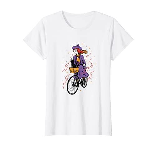 Brujas niña con gato, mujer en bicicleta, Halloween, bruja Camiseta