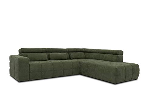DOMO Collection Brandon Ecksofa, Sofa mit Rückenfunktion in L-Form, Polsterecke Eckgarnitur, 278 x 228 x 80 cm, Polstergarnitur in grün
