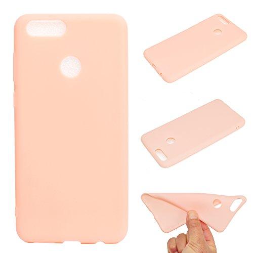 LeviDo Coque Compatible pour Huawei Honor 7X Étui Silicone Souple Bumper Antichoc TPU Gel Ultra Fine Mince Caoutchouc Bonbons Couleurs Design Etui Cover, Rose