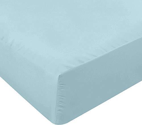 Utopia Bedding Sábana Bajera Ajustable - Bolsillo Profundo - Microfibra Cepillada - (Azul Agua, 90 x 190 cm)