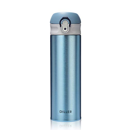 DILLER Vacuum Insulated Water Bottle,Stainless Steel Thermos Coffee Travel Mug BPA-Free Thermos Flask,Keeps Cold 24H, Hot 12H,17 oz (blue)