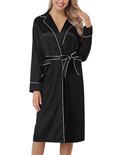 Hawiton Albornoz Mujer Invierno Albornoz Kimono para Mujer Largo Saten Brillante Bata Kimono Mujer Invierno Sexy Pijama Mujer con Cinturon y Dos Bolsilla para Novia Blanco Negro S-XL