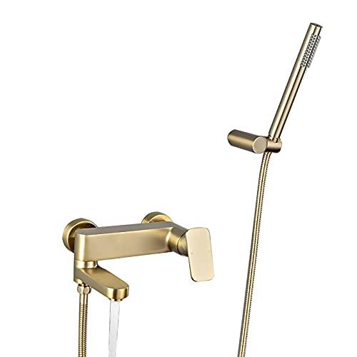 GLYYRLR Grifo de Bañera Oro Cepillado Mezclador de Ducha con Ducha de Mano, Grifo para Bañera Latón Grifo de Ducha Montaje Mural Mezclador Baño con Caño Giratorio
