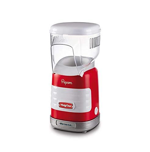 Ariete 2956 - Máquina de palomitas party time popper, 1000W, compacta, cocción con aire caliente, sin grasas ni condimientos, color rojo blanco