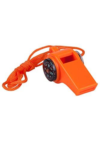 Mountain Warehouse Sifflet d'urgence 3 en 1 - Lanière de Cou, sifflet Puissant Durable, sifflet de Survie, Boussole et thermomètre - idéal pour la randonnée, Le Camping Orange Taille Unique