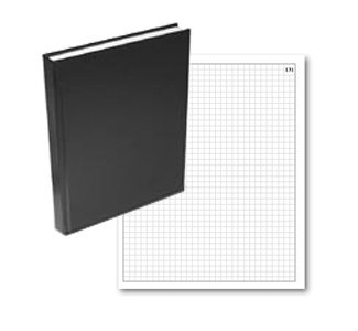 "BookFactory Black Graph Paper Notebook / 4 X 4 Quad Ruled Notebook/Quadrille Notebook - 168 Pages (.25 Grid Format) 8"" x 10"" Black Cover Smyth Sewn Hardbound (GRD-168-SGP-A-LKT00)"