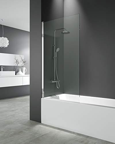 Mampara de bañera - Hoja abatible 6 mm con tratamiento anti cal - Medida 150x85 cm - Perfiles aluminio y elevación al girar (TRANSPARENTE)