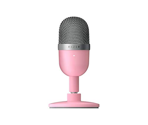 Razer Seiren Mini USB Streaming Microphone: Precise Supercardioid Pickup Pattern - Professional Recording Quality - Ultra-Compact Build - Heavy-Duty Tilting Stand - Shock Resistant - Quartz Pink