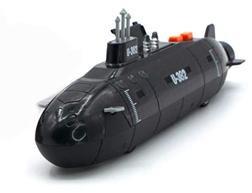 8' Super Submarine with Light & Sound Diecast Model Toy, but NO Box, Black, Size one Size
