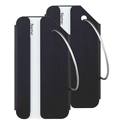Travelambo Luggage Tags & Bag Tags Stainless Steel Aluminum(Black)