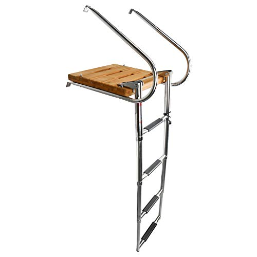 Amarine Made Boat in-Board Swim Teak Platform with 4-Steps Stainless Ladder