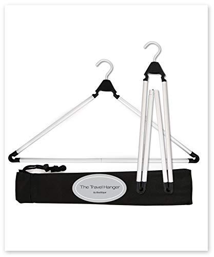 Travel Hanger, Car Hanger, Clothes Hanger, Gym Hanger, Fitness Hanger- Folding Hanger, Portable Hanger (Matte Silver & Black)