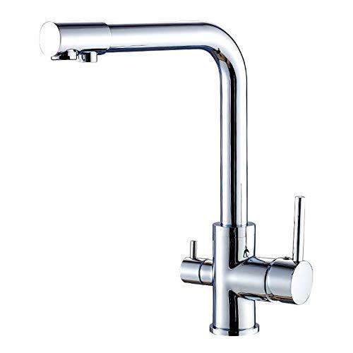 JRUIA 3-Wege-Wasserfilter Küche Wasserhahn 360° Schwenkbar Küchenarmatur 2 Hebel Mischbatterie Spültischarmatur Spüle Armatur f.Osmoseanlagen Trinkwasseranlagen aus Messing (Chrom)