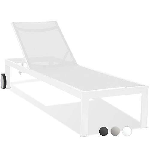 acamp Sonnenliege Rimini   Gartenliege wetterfest in Snow   Aluminiumgestell mit 2 Rollen   Bezug aus atmungsaktivem Gewebe   mehrfach verstellbare Rückenlehne   modernes Design   hoher Liegekomfort