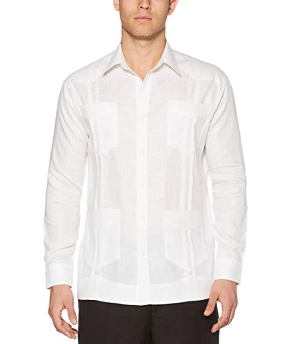 Cubavera Men's Long Sleeve Traditional Guayabera Shirt, Bright White, X-Large