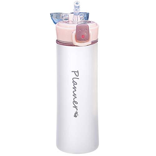 tianxiangjjeu Botella de agua con boquilla y cuerda de elevación, 500 ml, portátil, fácil de llevar, 4 colores, vaso de agua para viajes, color rosa