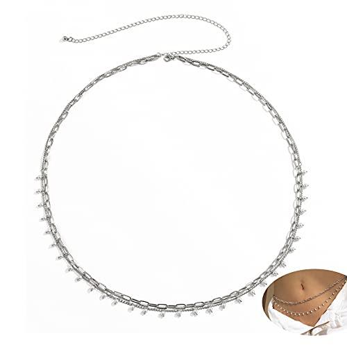 QFSLR Perla Cadena De Cintura Multicapa Body Chain para Mujer Vientre Arnés De Cuerpo Ajustable para Vestidos...