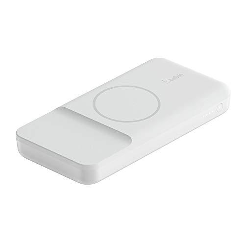 Belkin Cargador inalámbrico portátil batería Externa (Compatible con MagSafe, 10000 mAh con Carga inalámbrica de 7,5 W y Puerto USB-C PD de Entrada/Salida de 18 W para la Serie iPhone 12), Blanco