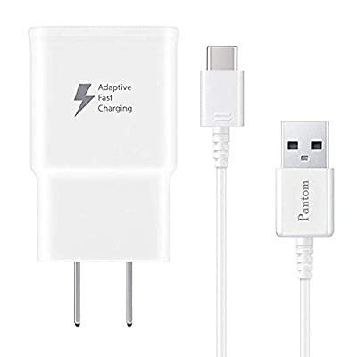 Pantom Adaptive Fast Charging Wall Charger and 5-Feet USB Type C Data Cable Kit Compatible with Samsung Galaxy S10/S10+/S9/S9+/S8/S8+ Note 8/Note 9 & Other Smartphones