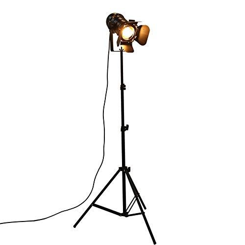 Lámpara de escritorio industrial para barra creativa de estudio retro, trípode negro, lámpara de pie para habitación, soporte de techo (pantalla de lámpara: UE)