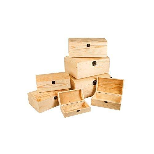 LINDER EXCLUSIV Set di 7 cassapanca in legno con coperchio ovale e chiusura