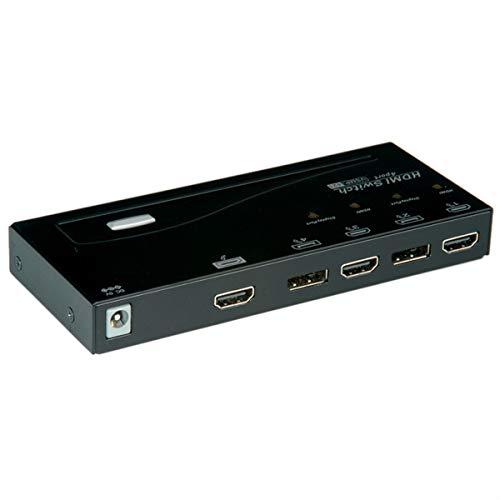 ROLINE HDMI / DP-Switch 4-fach | Auflösung in Full HD-Qualität | Unterstützt HDCP   Schwarz