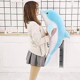 XIAN Peluche de delfín azul rosa de peluche de mar océano acuático para niños muñeca de peluche regalo de cumpleaños de 30 cm a granizo (color: B, tamaño: 100 cm)