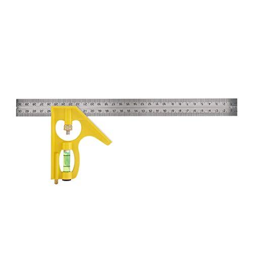 Kathlen Regla de ángulo Recto- Herramienta de medición de Ingeniero de Regla de ángulo Recto Multifuncional de combinación Ajustable Multifuncional de 300 mm(Amarillo)