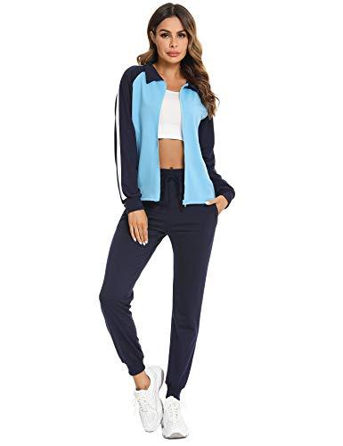 Doaraha Damen Trainingsanzüge Elegant Jogginganzug Streifen Sportanzug Mode Outfit Hausanzug Tracksuit Trainingjacke+Freizeithose für Sport und Freizeit, Marine-Hellblau, XL
