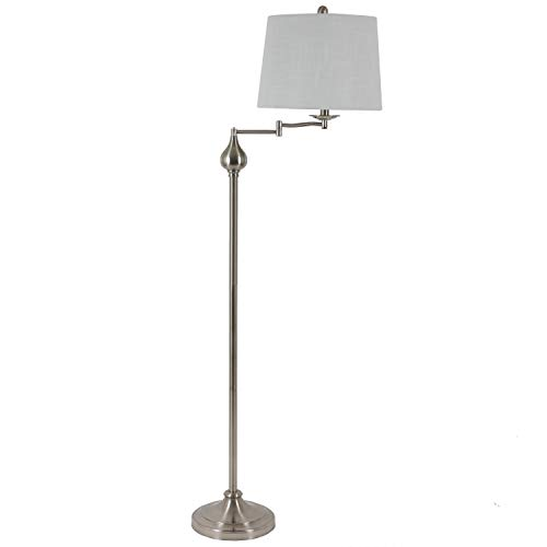 Decor Therapy Tina 63 in. Brushed Steel Indoor Floor Lamp with Swing Arm and Ball Accent with White Shade