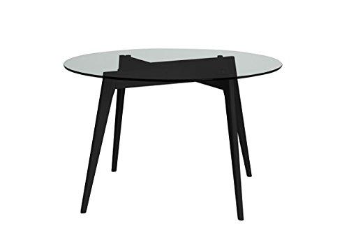 ambiato Esstisch Janis Rund 120cm Küchentisch Konferenztisch Büro Tisch Glastisch Wildeiche oder Schwarz (Schwarz)