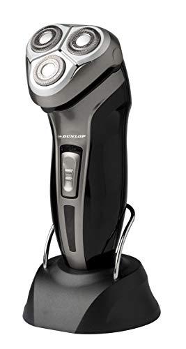 Elektrischer Rasierer für Männer mit 3 Aufsteckbürsten, wiederaufladbar, Regel für Bart, Schnurrbart und Dunlop, Farbe Schwarz, Akku