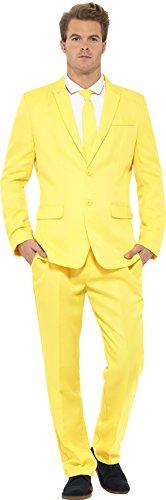 Smiffys, Herren Gelber Anzug Kostüm, Jackett, Hose und Krawatte, Größe: XL, 43525