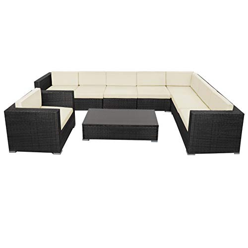 Montafox 24-teilige Polyrattan Lounge 8 Personen Gartenmöbel Ecklounge Ecksofa Beistelltisch Sessel Balkon Terrasse Gartengarnitur Schwarz, Farbe:Sandstrand