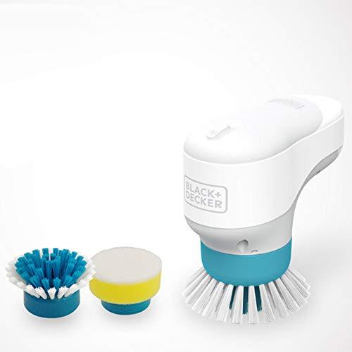 JKYQ Elektrische Reinigungsbürste Multifunktionale Küchenreinigung Schatz Minihandreinigungsbürste Zwei Bürstenkopf-Reiniger weiß