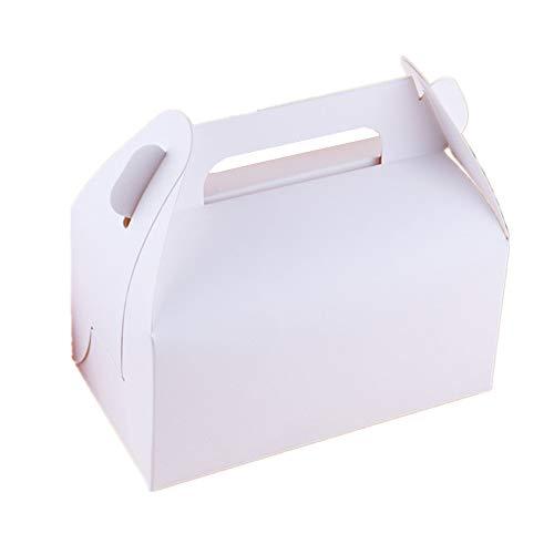 FaisTonGateau Kuchenschachteln mit Deckel, viereckig, 16x8cm, Weiß, 50 Stück