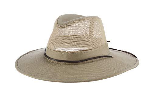 Dorfman Pacific Men's Brushed Twill-and-Mesh Safari Hat